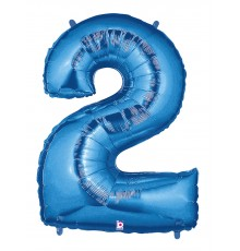 Folienballon Zahl 2 blau