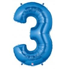 Folienballon Zahl 3 blau