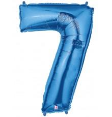 Folienballon Zahl 7 blau