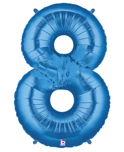 Folienballon Zahl 8 blau