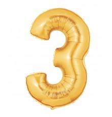 Palloncino foil numero 3 oro