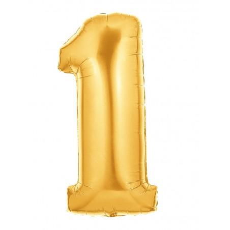 Folienballon Zahl 1 gold
