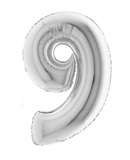 Folienballon Zahl 9 silber