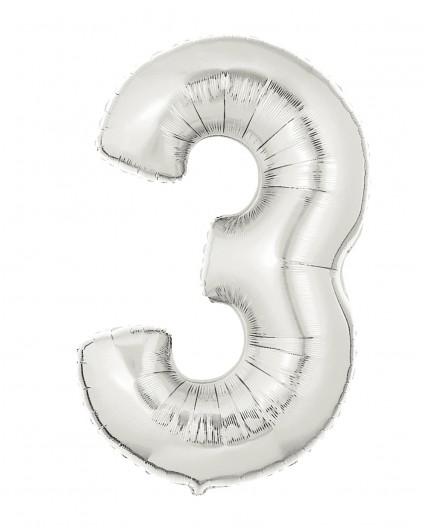 Folienballon Zahl 3 gold