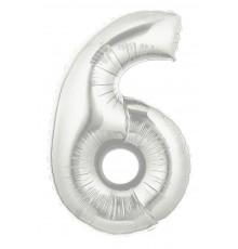 Folienballon Zahl 6 silber