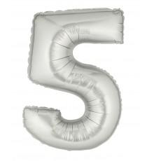 Ballon aluminium numéro 5 argent