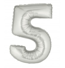 Palloncino foil numero 5 argento