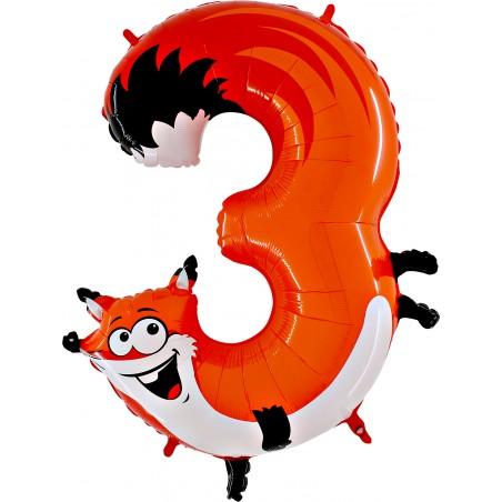 Folienballon Zahl 3 Tiermotiv