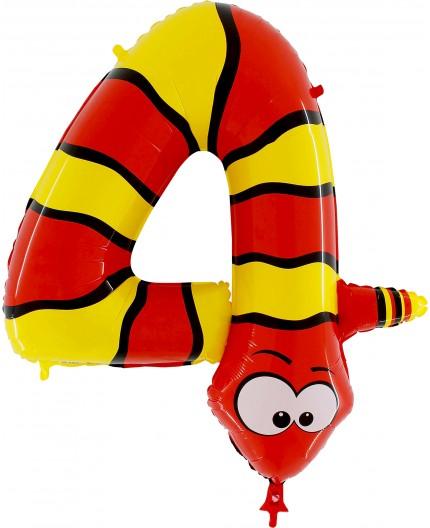 Folienballon Zahl 4 Tiermotiv
