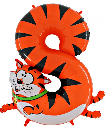 Folienballon Zahl 8 Tiermotiv