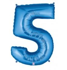 Ballon aluminium numéro 5 bleu