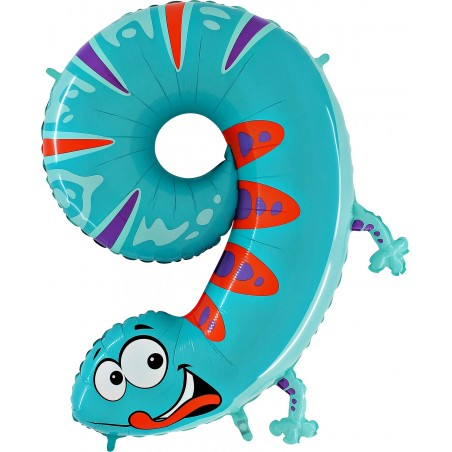 Folienballon Zahl 9 Tiermotiv