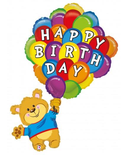 Folienballon Birthday Ballonbär