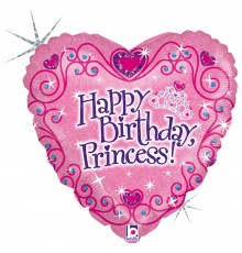 Folienballon Herz Birthday Princess
