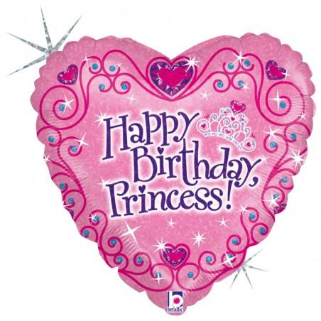 Folienballon Herz Birthday Princess
