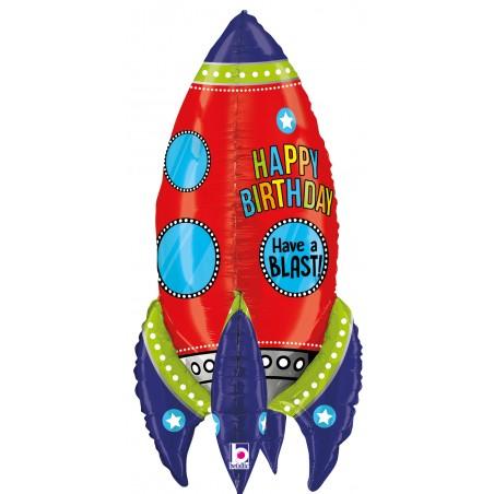 Folienballon Happy Birthday Rakete
