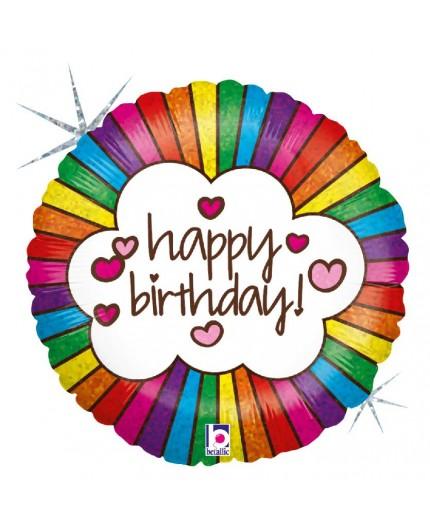 Folienballon Birthday Regenbogen