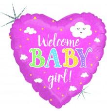 Ballon aluminium, coeur, bienvenue bébé fille