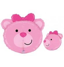 Palloncino di alluminio, rosa orsetto