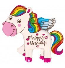 Palloncino foil buon compleanno pony