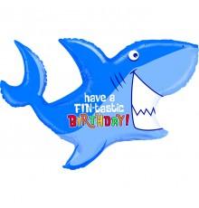 Ballon aluminium, joyeux anniversaire, requin