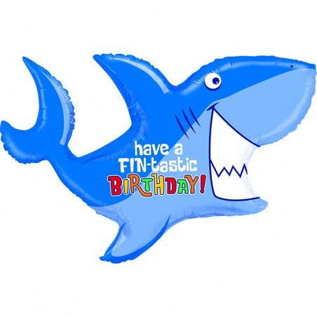 Palloncino foil, bueno compleanno, squalo