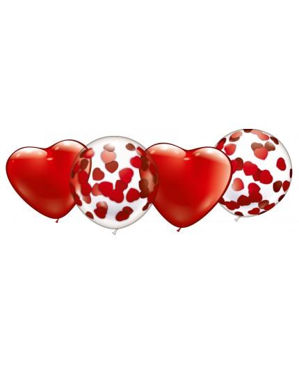 Konfetti-Herz-Ballon-Set