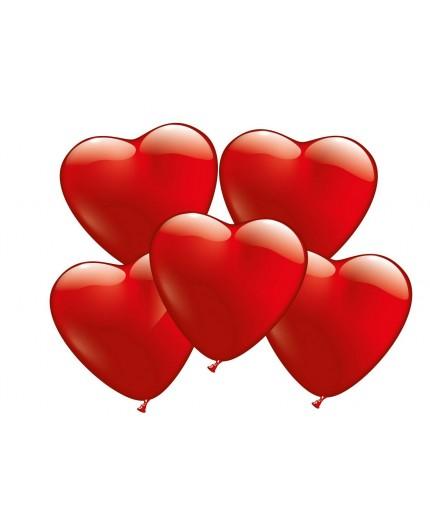 100 Herzballons rot