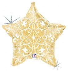 """Palloncino foil """"star ornament gold"""""""