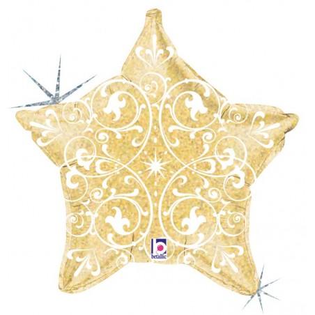 Folienballon Stern Ornament gold