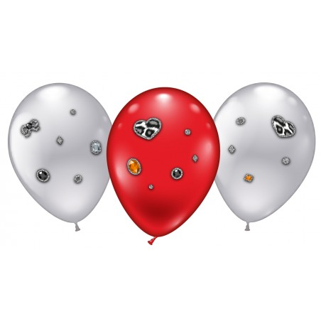 "4 Ballons ""Leopard Heart Jewels"""