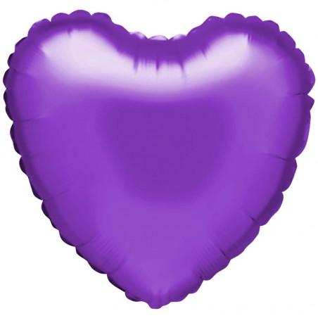 """Ballon aluminium """"coeur"""" en violet"""