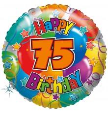 "Folienballon ""75"" Happy Birthday"