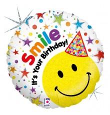 "Folienballon ""Happy Birthday Smiley Hut"""